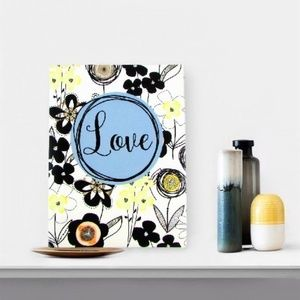 Love Blooms Frameless Hanging Sign Wall Art Decor